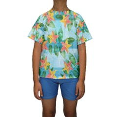 Tropical Starfruit Pattern Kids  Short Sleeve Swimwear