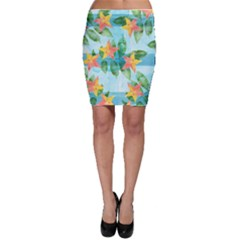 Tropical Starfruit Pattern Bodycon Skirt