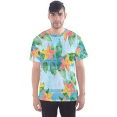 Tropical Starfruit Pattern Men s Sport Mesh Tee