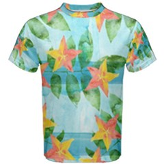Tropical Starfruit Pattern Men s Cotton Tee