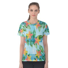 Tropical Starfruit Pattern Women s Cotton Tee