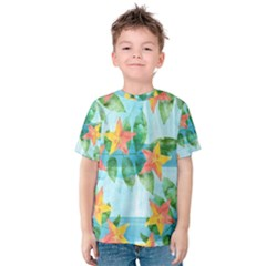 Tropical Starfruit Pattern Kids  Cotton Tee