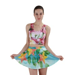 Tropical Starfruit Pattern Mini Skirt