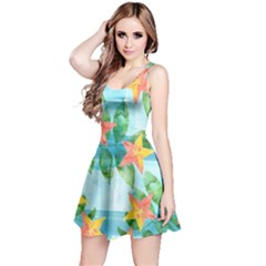 Tropical Starfruit Pattern Reversible Sleeveless Dress