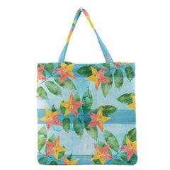 Tropical Starfruit Pattern Grocery Tote Bag