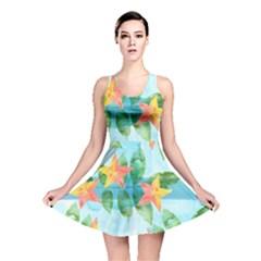 Tropical Starfruit Pattern Reversible Skater Dress