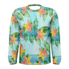Tropical Starfruit Pattern Men s Long Sleeve Tee