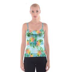 Tropical Starfruit Pattern Spaghetti Strap Top