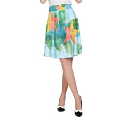 Tropical Starfruit Pattern A Line Skirt