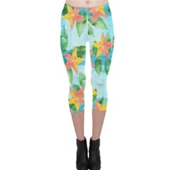 Tropical Starfruit Pattern Capri Leggings