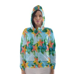 Tropical Starfruit Pattern Hooded Wind Breaker (women)