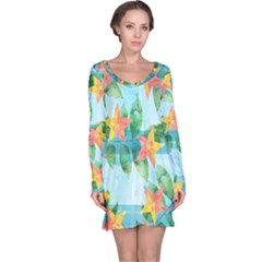 Tropical Starfruit Pattern Long Sleeve Nightdress