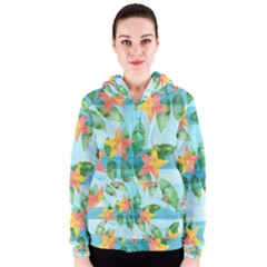 Tropical Starfruit Pattern Women s Zipper Hoodie