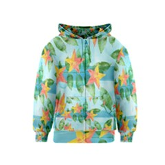 Tropical Starfruit Pattern Kids  Zipper Hoodie