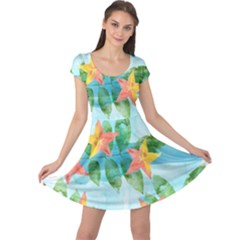 Tropical Starfruit Pattern Cap Sleeve Dresses