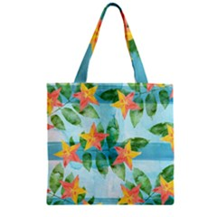 Tropical Starfruit Pattern Zipper Grocery Tote Bag