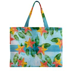Tropical Starfruit Pattern Zipper Mini Tote Bag