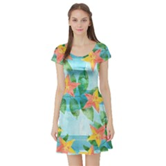 Tropical Starfruit Pattern Short Sleeve Skater Dress