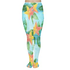 Tropical Starfruit Pattern Women s Tights