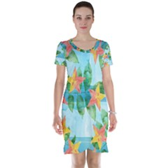 Tropical Starfruit Pattern Short Sleeve Nightdress
