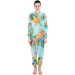 Tropical Starfruit Pattern Hooded Jumpsuit (ladies)