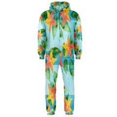 Tropical Starfruit Pattern Hooded Jumpsuit (men)