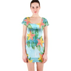 Tropical Starfruit Pattern Short Sleeve Bodycon Dress