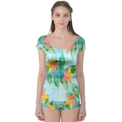 Tropical Starfruit Pattern Boyleg Leotard