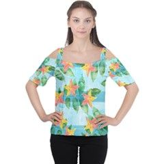 Tropical Starfruit Pattern Women s Cutout Shoulder Tee