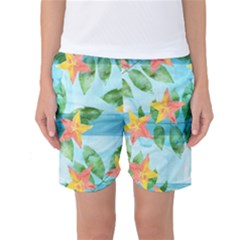 Tropical Starfruit Pattern Women s Basketball Shorts
