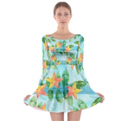 Tropical Starfruit Pattern Long Sleeve Skater Dress