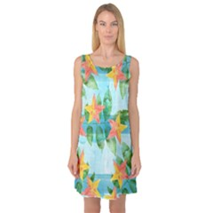 Tropical Starfruit Pattern Sleeveless Satin Nightdress