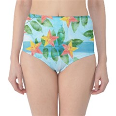 Tropical Starfruit Pattern High Waist Bikini Bottoms