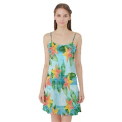Tropical Starfruit Pattern Satin Night Slip