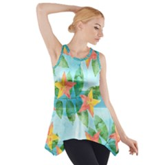 Tropical Starfruit Pattern Side Drop Tank Tunic