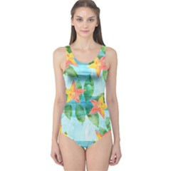 Tropical Starfruit Pattern One Piece Swimsuit