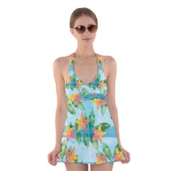 Tropical Starfruit Pattern Halter Swimsuit Dress