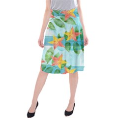 Tropical Starfruit Pattern Midi Beach Skirt