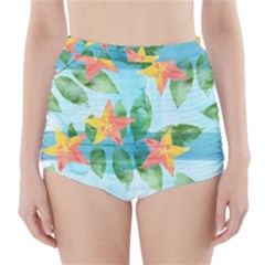 Tropical Starfruit Pattern High Waisted Bikini Bottoms