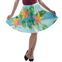 Tropical Starfruit Pattern A Line Skater Skirt