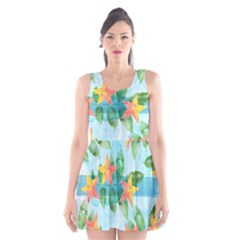 Tropical Starfruit Pattern Scoop Neck Skater Dress