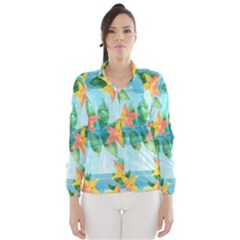 Tropical Starfruit Pattern Wind Breaker (women)