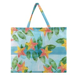 Tropical Starfruit Pattern Zipper Large Tote Bag