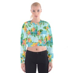 Tropical Starfruit Pattern Women s Cropped Sweatshirt