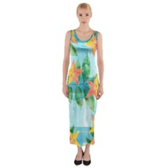 Tropical Starfruit Pattern Fitted Maxi Dress
