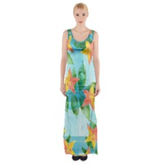 Tropical Starfruit Pattern Maxi Thigh Split Dress