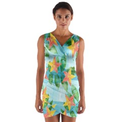 Tropical Starfruit Pattern Wrap Front Bodycon Dress