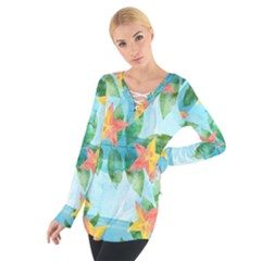 Tropical Starfruit Pattern Women s Tie Up Tee