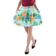 Tropical Starfruit Pattern A Line Pocket Skirt by DanaeStudio