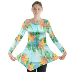 Tropical Starfruit Pattern Long Sleeve Tunic  by DanaeStudio